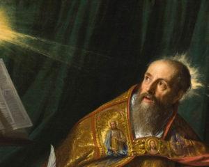 Détail du tableau de Saint Augustin par Philippe de Champaigne (Los Angeles County Museum of Art)
