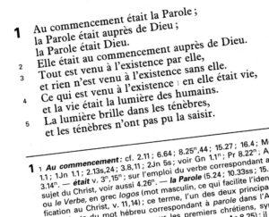 scan du début de l'Evangile selon Jean dans la Nouvelle Bible Second